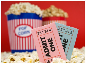Movie stubs and popcorn